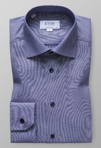 Eton Sky Blue Oxford Shirt Donker Blauw