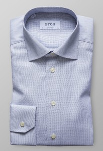 Eton Textured Signature Twill Donker Blauw