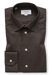Eton Visgraat Flanel Shirt Bruin