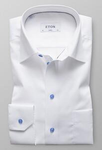 Eton Contrast Button Uni Shirt Wit