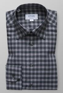 Eton Check Flannel Shirt Donker Groen