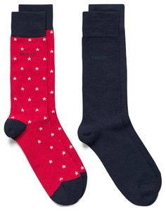 Gant 2Pack Stars and Solid Socks Rood