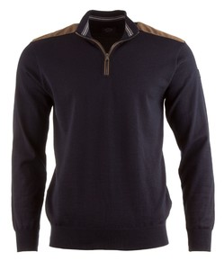 Paul & Shark Three-In-One Alcantara Contrasted Pullover Navy