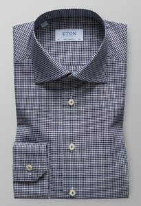 Eton Mini Check Shirt Navy