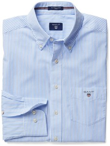 Gant Popeline Striped Fitted Banker Shirt Licht Blauw
