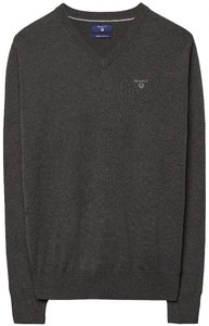 Gant Cotton V-Neck Antraciet Melange