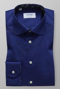 Eton Uni Floral Contrast Donker Blauw Melange