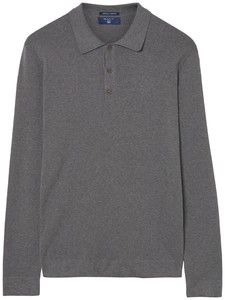 Gant American Pima Cotton Long Sleeve Polo Dark Grey Melange