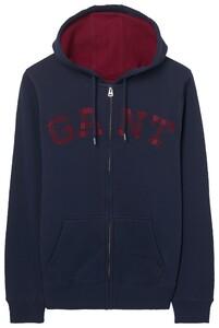 Gant Logo Full Zip Hoodie Avond Blauw