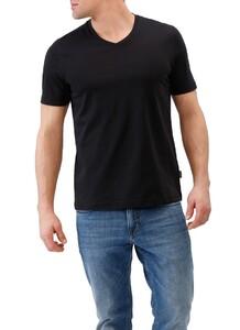 Maerz V-Neck Uni Shirt Zwart