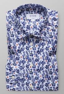 Eton Floral Shirt Diep Blauw